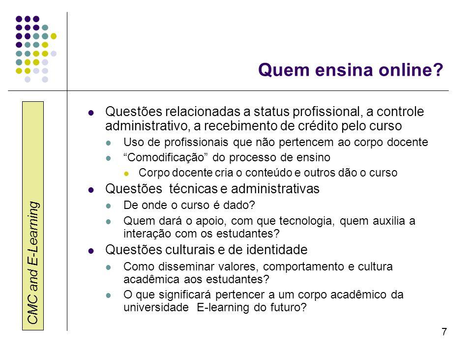 CMC and E-Learning 7 Quem ensina online? Questões relacionadas a status profissional, a controle administrativo, a recebimento de crédito pelo curso U