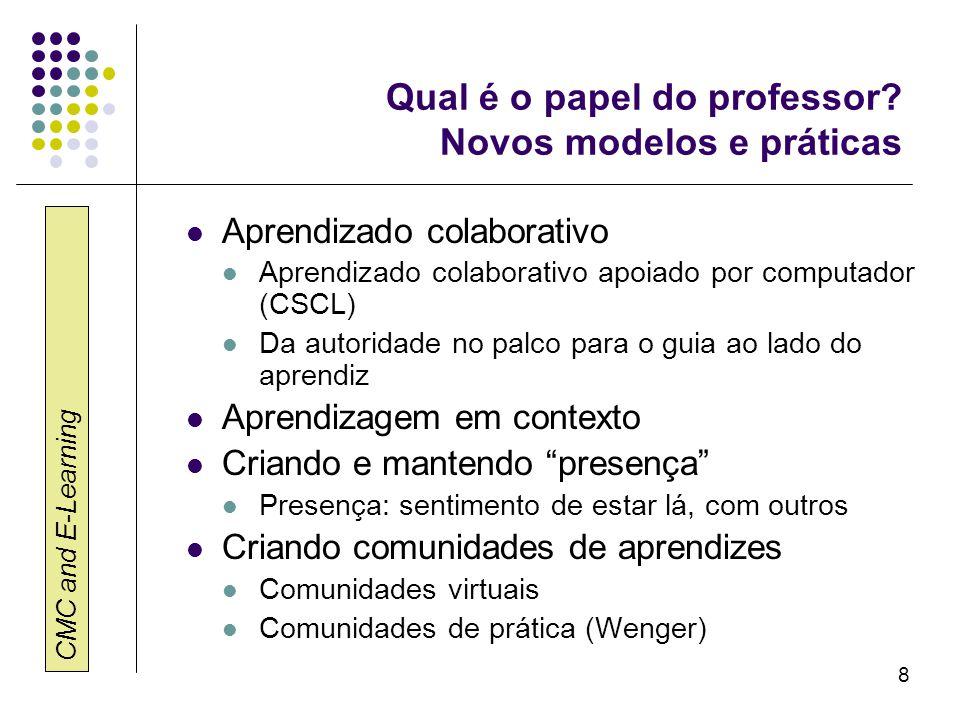 CMC and E-Learning 8 Qual é o papel do professor? Novos modelos e práticas Aprendizado colaborativo Aprendizado colaborativo apoiado por computador (C
