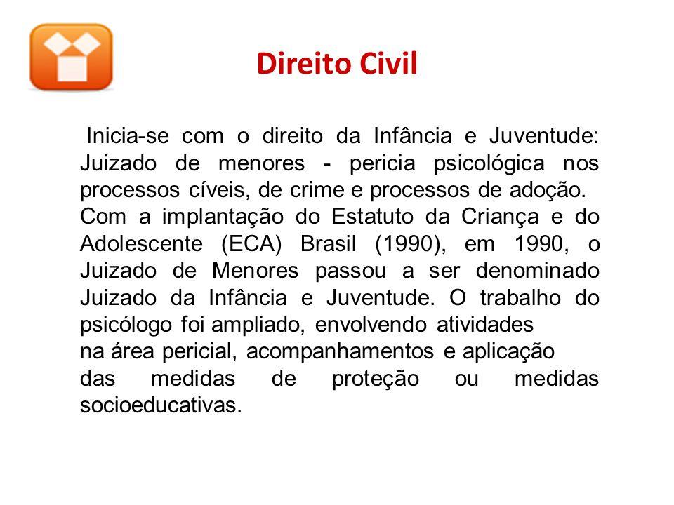 Direito Civil Inicia-se com o direito da Infância e Juventude: Juizado de menores - pericia psicológica nos processos cíveis, de crime e processos de