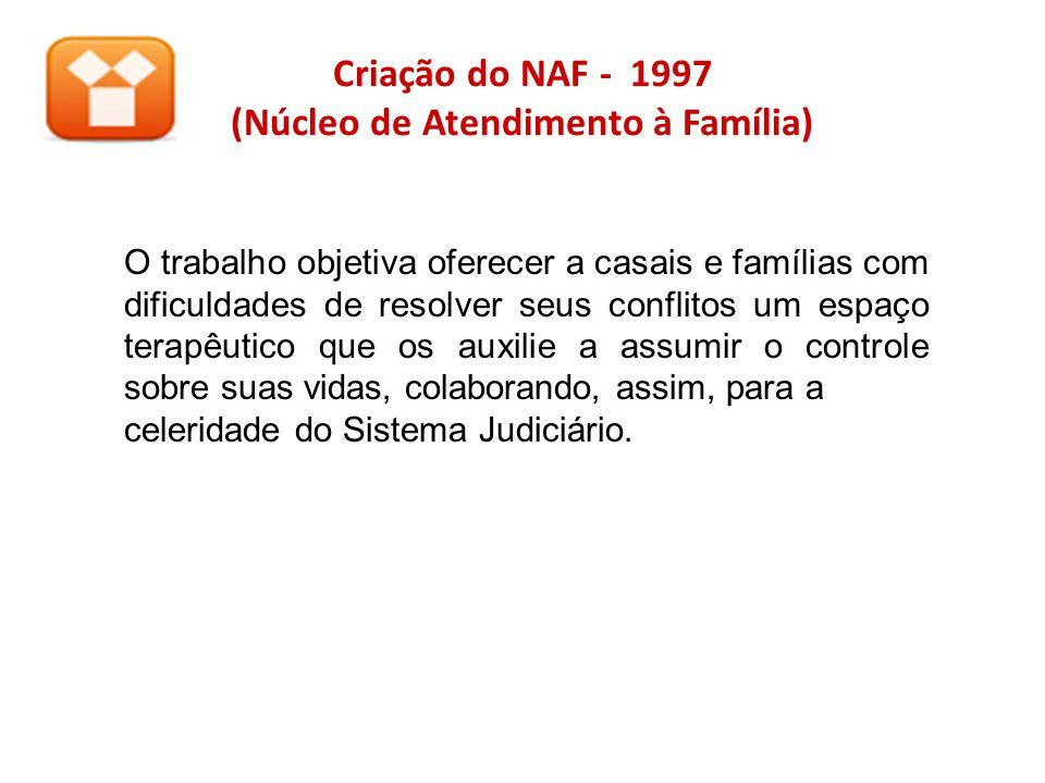 Criação do NAF - 1997 (Núcleo de Atendimento à Família) O trabalho objetiva oferecer a casais e famílias com dificuldades de resolver seus conflitos u