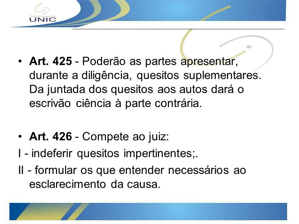 Art.425 - Poderão as partes apresentar, durante a diligência, quesitos suplementares.