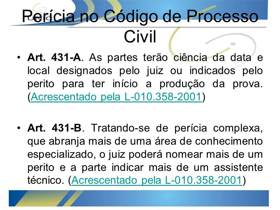 Perícia no Código de Processo Civil Art.431-A.