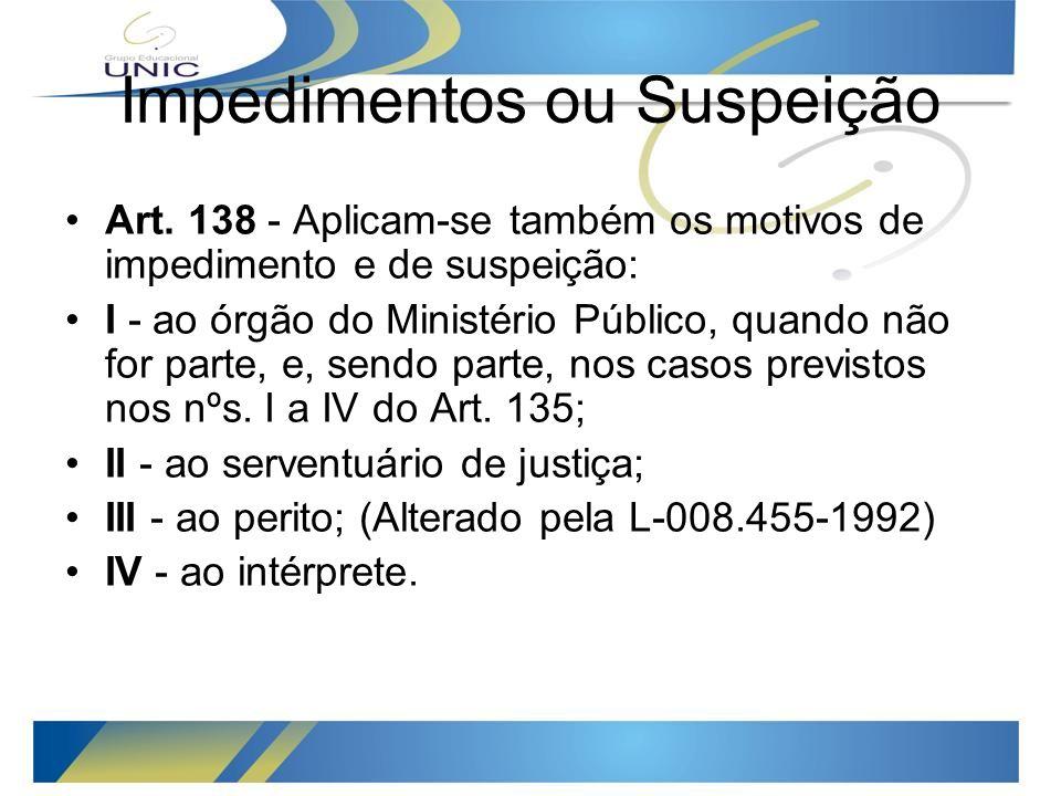 Impedimentos ou Suspeição Art.
