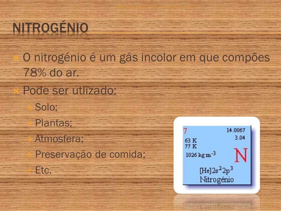 O nitrogénio é um gás incolor em que compões 78% do ar.