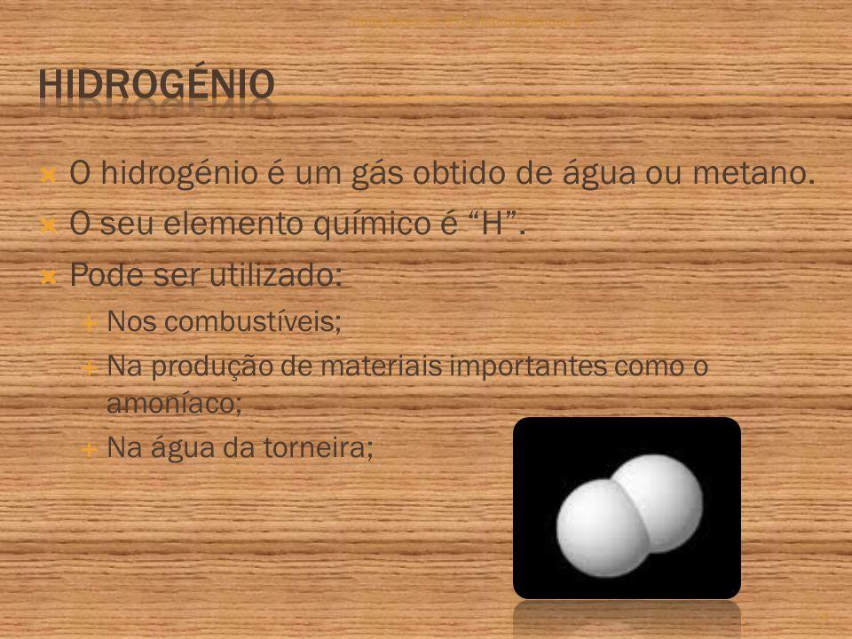  O hidrogénio é um gás obtido de água ou metano.  O seu elemento químico é H .