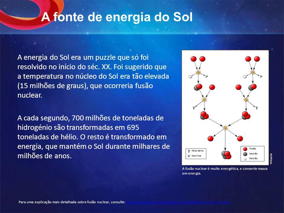 A fonte de energia do Sol A energia do Sol era um puzzle que só foi resolvido no início do séc.