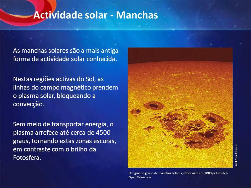 Actividade solar - Manchas As manchas solares são a mais antiga forma de actividade solar conhecida.