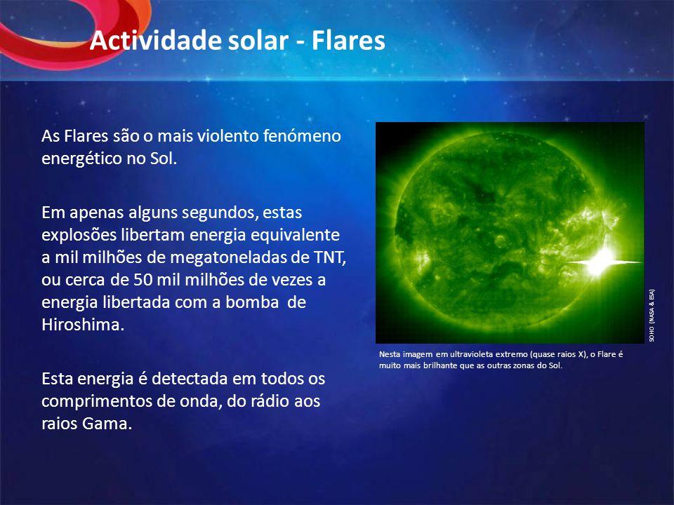 Actividade solar - Flares As Flares são o mais violento fenómeno energético no Sol.