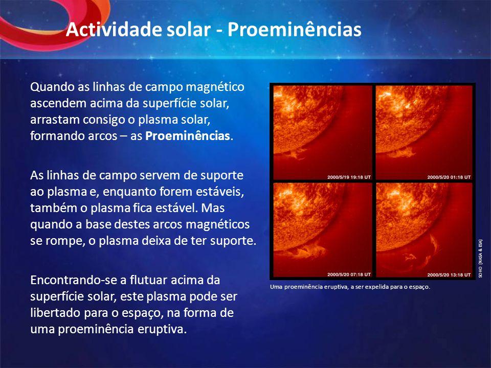 Actividade solar - Proeminências Quando as linhas de campo magnético ascendem acima da superfície solar, arrastam consigo o plasma solar, formando arcos – as Proeminências.