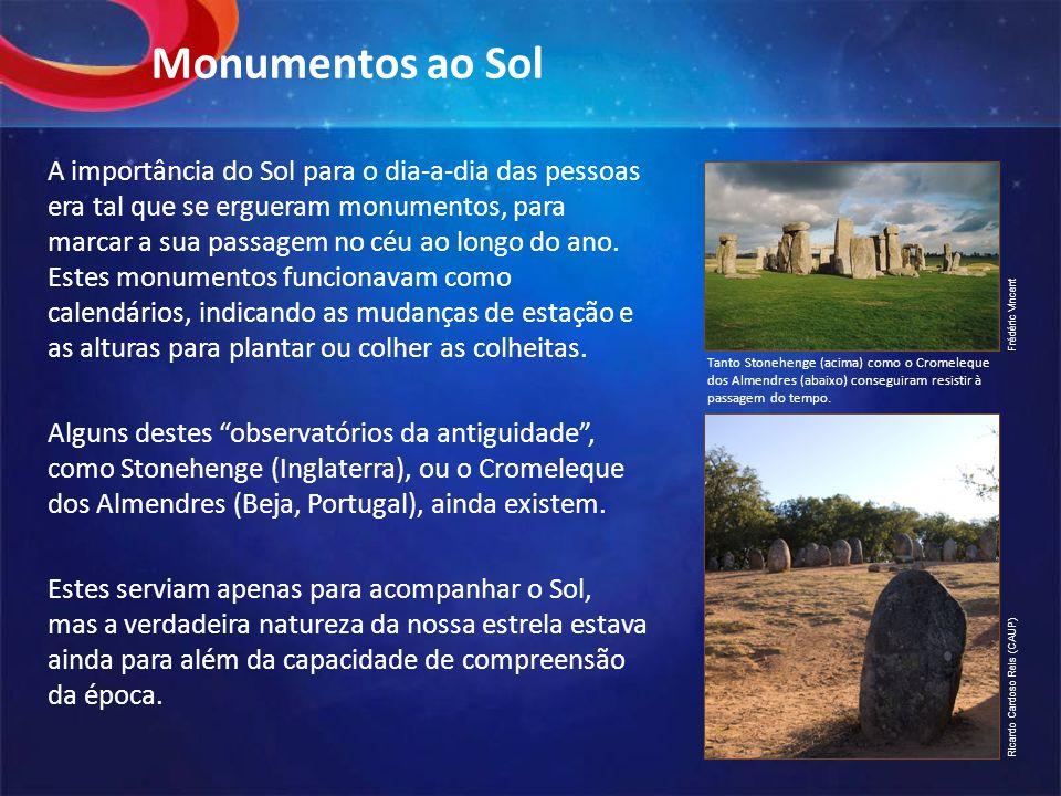 Monumentos ao Sol A importância do Sol para o dia-a-dia das pessoas era tal que se ergueram monumentos, para marcar a sua passagem no céu ao longo do ano.