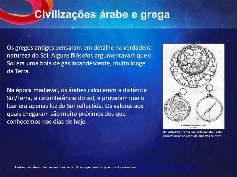 Civilizações árabe e grega Os gregos antigos pensaram em detalhe na verdadeira natureza do Sol.