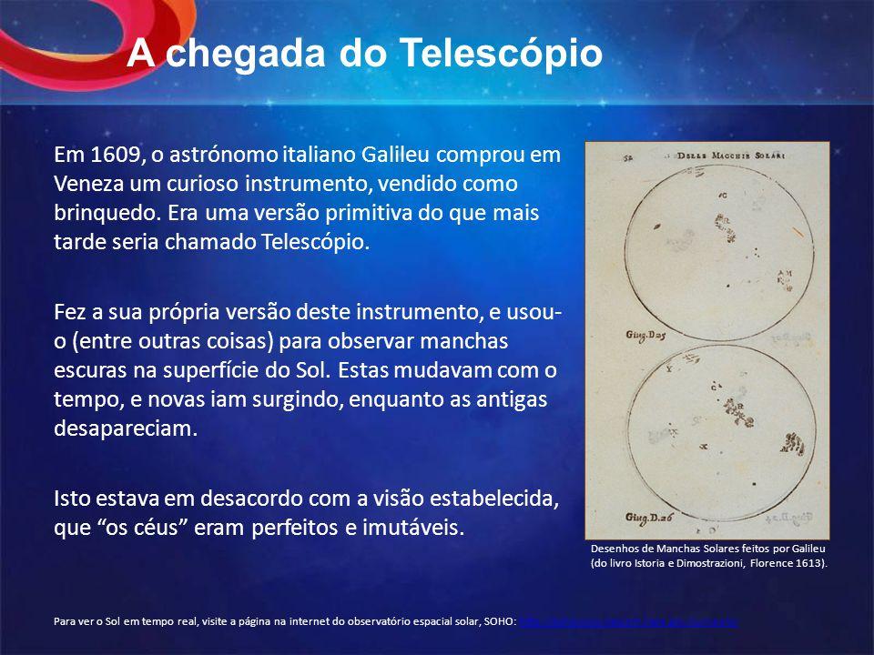 A chegada do Telescópio Em 1609, o astrónomo italiano Galileu comprou em Veneza um curioso instrumento, vendido como brinquedo.