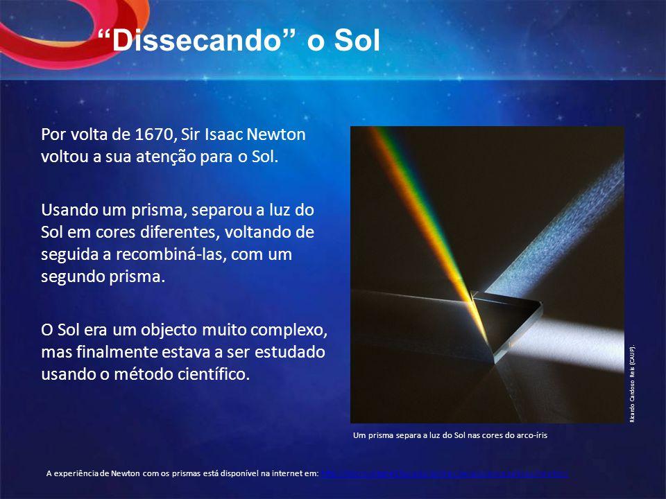 Dissecando o Sol Por volta de 1670, Sir Isaac Newton voltou a sua atenção para o Sol.