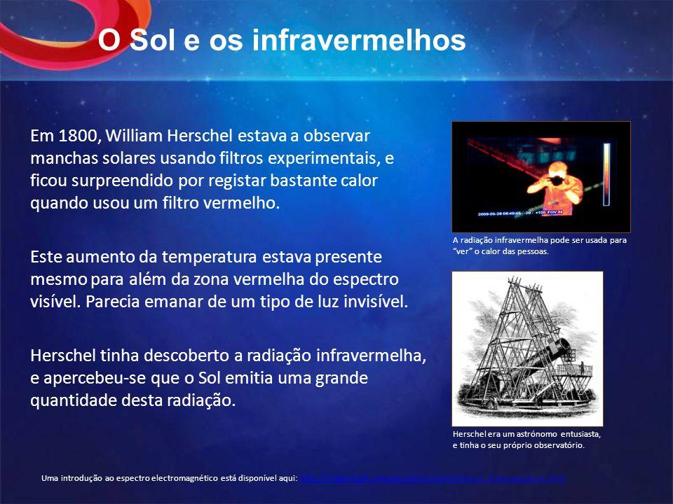 O Sol e os infravermelhos Em 1800, William Herschel estava a observar manchas solares usando filtros experimentais, e ficou surpreendido por registar bastante calor quando usou um filtro vermelho.
