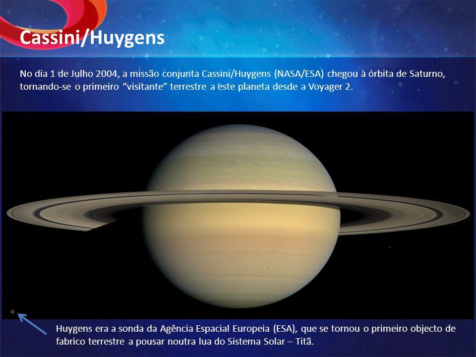 """No dia 1 de Julho 2004, a missão conjunta Cassini/Huygens (NASA/ESA) chegou à órbita de Saturno, tornando-se o primeiro """"visitante"""" terrestre a este p"""