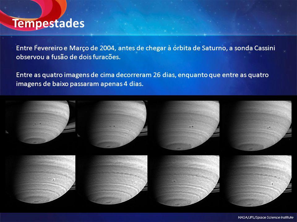 Entre Fevereiro e Março de 2004, antes de chegar à órbita de Saturno, a sonda Cassini observou a fusão de dois furacões.