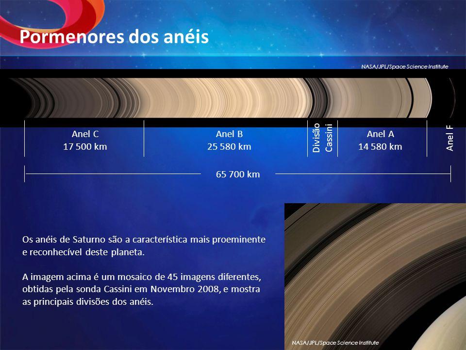 Os anéis de Saturno são a característica mais proeminente e reconhecível deste planeta.