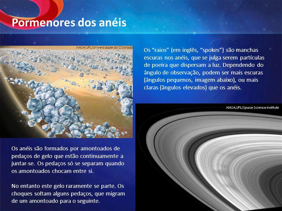 Os anéis são formados por amontoados de pedaços de gelo que estão continuamente a juntar-se.