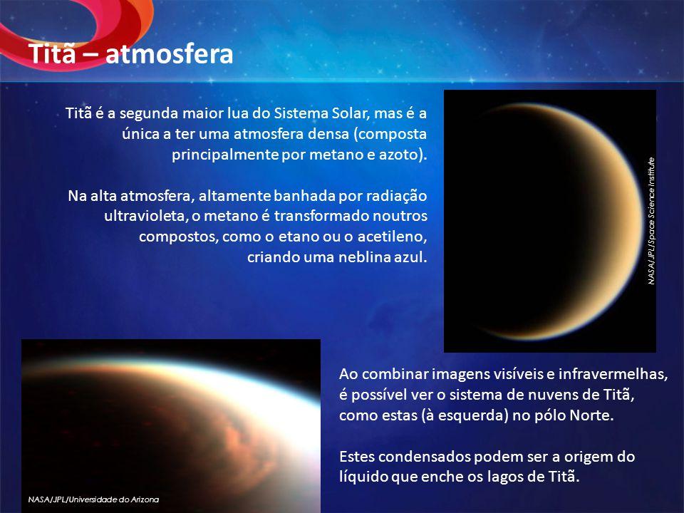 Titã é a segunda maior lua do Sistema Solar, mas é a única a ter uma atmosfera densa (composta principalmente por metano e azoto).