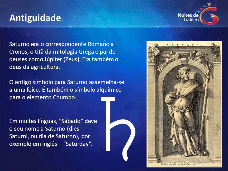 Saturno era o correspondente Romano a Cronos, o titã da mitologia Grega e pai de deuses como Júpiter (Zeus). Era também o deus da agricultura. O antig