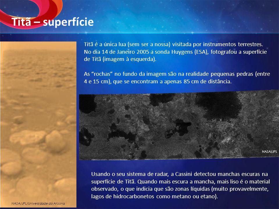 Titã é a única lua (sem ser a nossa) visitada por instrumentos terrestres. No dia 14 de Janeiro 2005 a sonda Huygens (ESA), fotografou a superfície de
