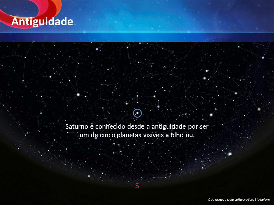 Antiguidade Saturno é conhecido desde a antiguidade por ser um de cinco planetas visíveis a olho nu. Céu gerado pelo software livre Stellarium