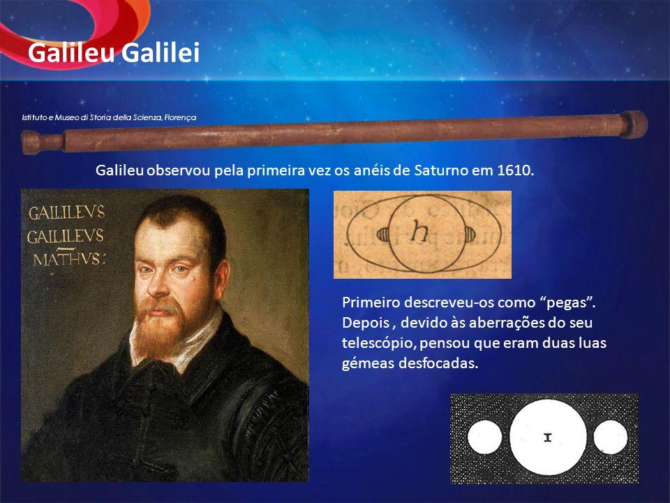 """Galileu Galilei Primeiro descreveu-os como """"pegas"""". Depois, devido às aberrações do seu telescópio, pensou que eram duas luas gémeas desfocadas. Galil"""