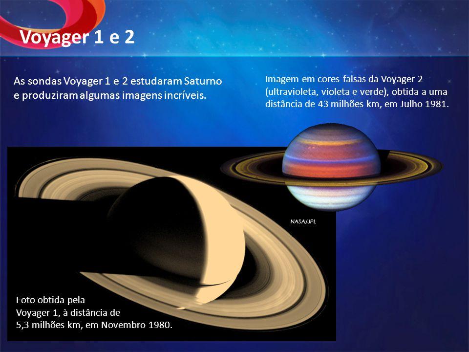 NASA/JPL Imagem em cores falsas da Voyager 2 (ultravioleta, violeta e verde), obtida a uma distância de 43 milhões km, em Julho 1981. Voyager 1 e 2 Fo
