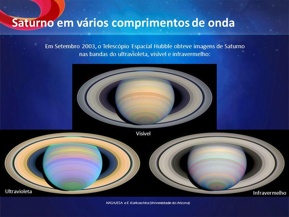 Em Setembro 2003, o Telescópio Espacial Hubble obteve imagens de Saturno nas bandas do ultravioleta, visível e infravermelho: Saturno em vários compri