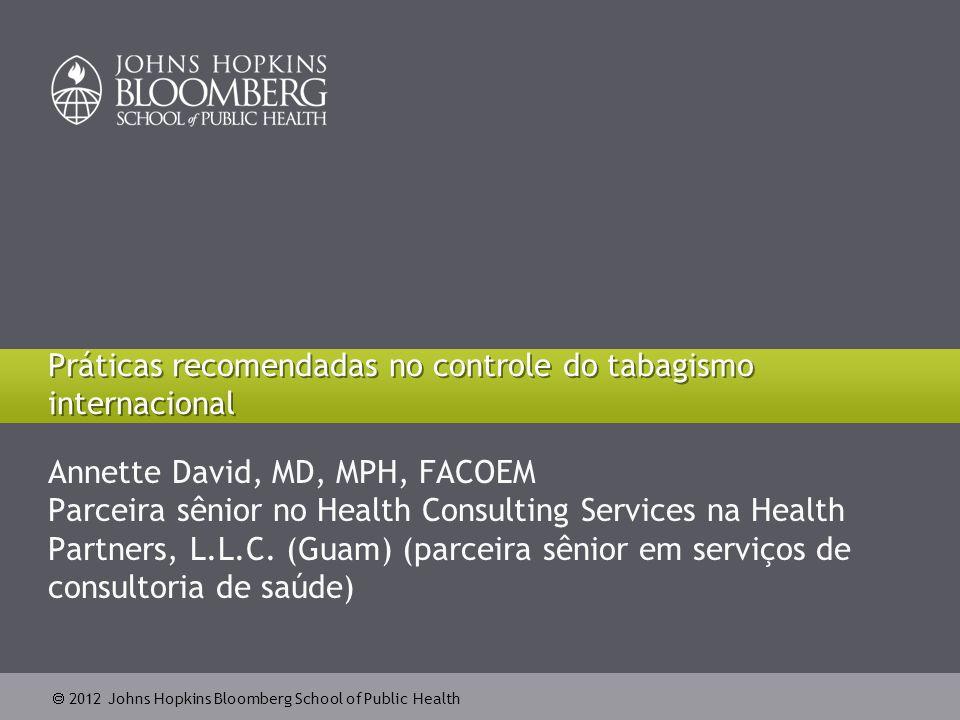  2012 Johns Hopkins Bloomberg School of Public Health Impacto sobre o consumo 22 Fonte: Mendez et al.