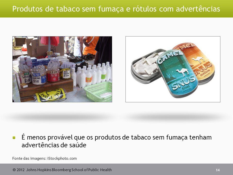  2012 Johns Hopkins Bloomberg School of Public Health Produtos de tabaco sem fumaça e rótulos com advertências É menos provável que os produtos de tabaco sem fumaça tenham advertências de saúde 14 Fonte das imagens: iStockphoto.com