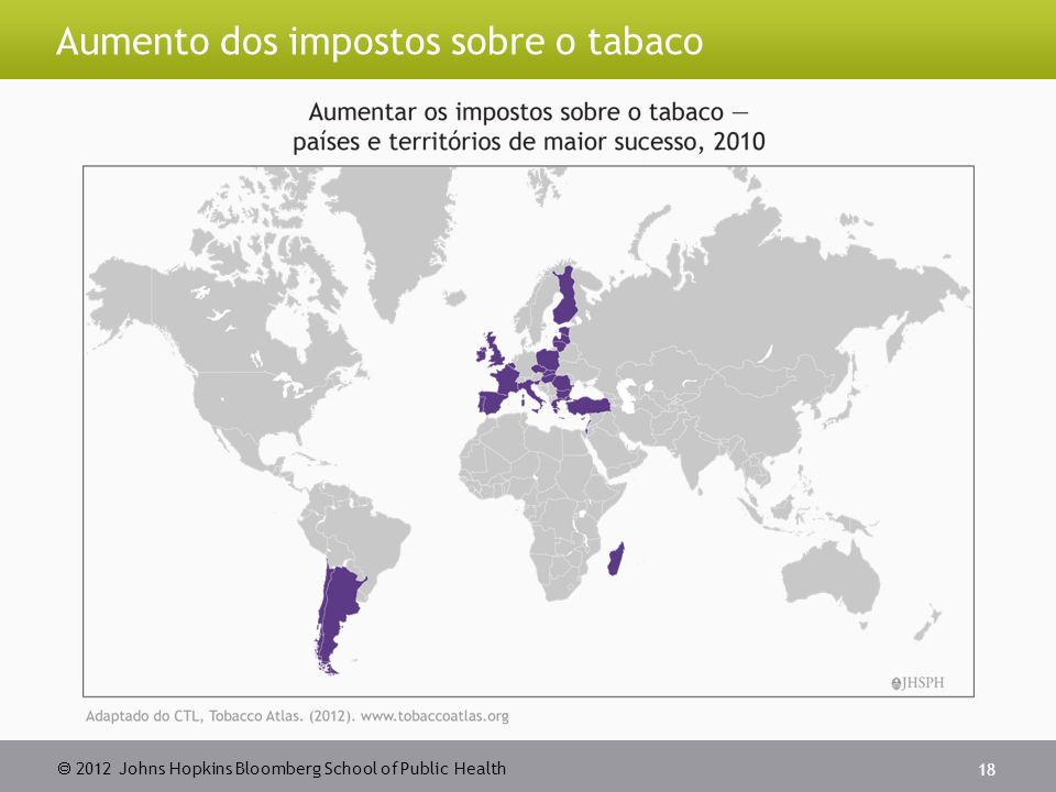  2012 Johns Hopkins Bloomberg School of Public Health Aumento dos impostos sobre o tabaco 18