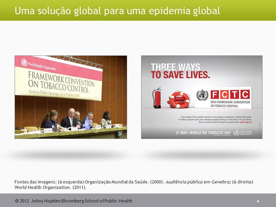  2012 Johns Hopkins Bloomberg School of Public Health Uma solução global para uma epidemia global 4 Fontes das imagens: (à esquerda) Organização Mund