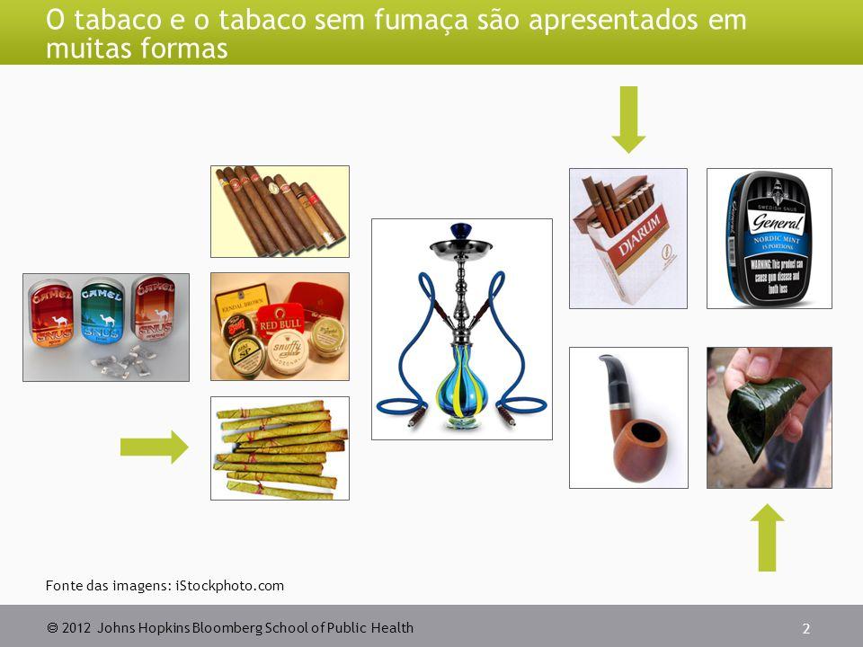  2012 Johns Hopkins Bloomberg School of Public Health 2 O tabaco e o tabaco sem fumaça são apresentados em muitas formas Fonte das imagens: iStockpho
