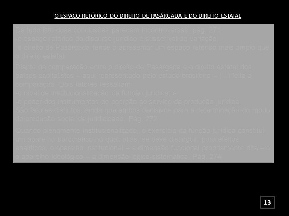 O ESPAÇO RETÓRICO DO DIREITO DE PASÁRGADA E DO DIREITO ESTATAL De tudo isto duas conclusões parecem incontroversas: pág. 271 -o espaço retórico do dis