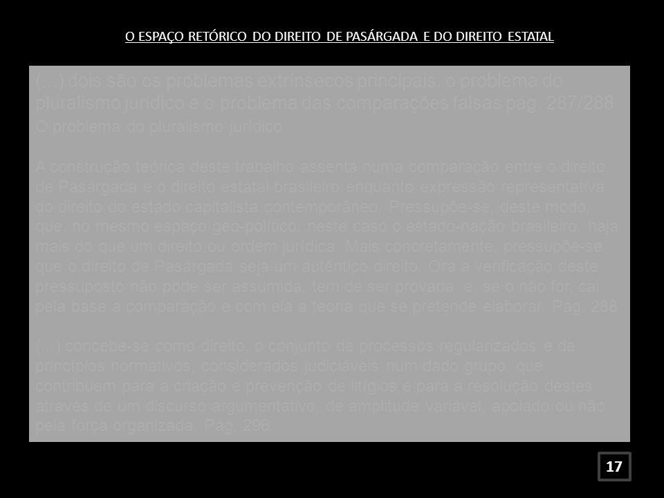O ESPAÇO RETÓRICO DO DIREITO DE PASÁRGADA E DO DIREITO ESTATAL (...) dois são os problemas extrínsecos principais: o problema do pluralismo jurídico e