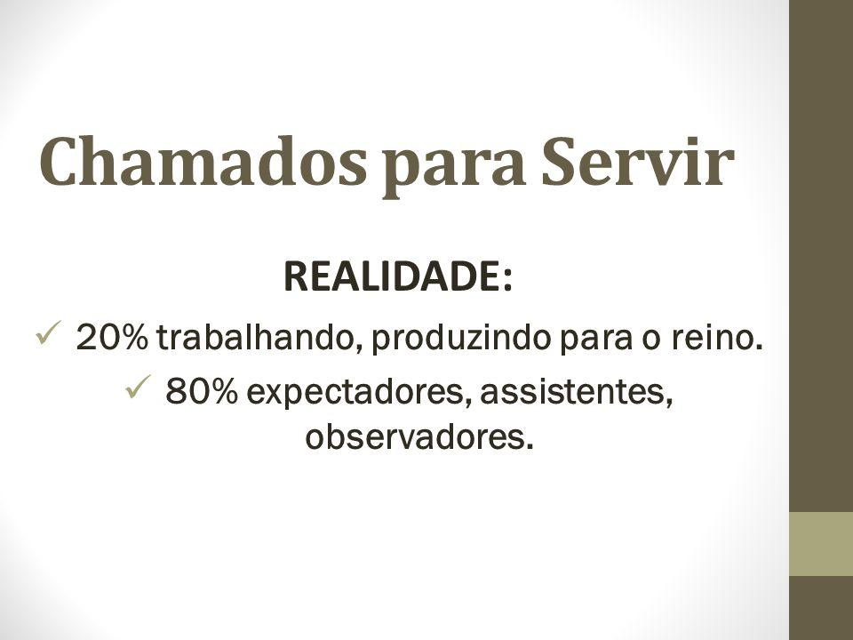 Chamados para Servir REALIDADE: 20% trabalhando, produzindo para o reino.