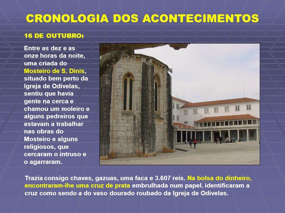 CRONOLOGIA DOS ACONTECIMENTOS 16 DE OUTUBRO: Entre as dez e as onze horas da noite, uma criada do Mosteiro de S. Dinis, situado bem perto da Igreja de