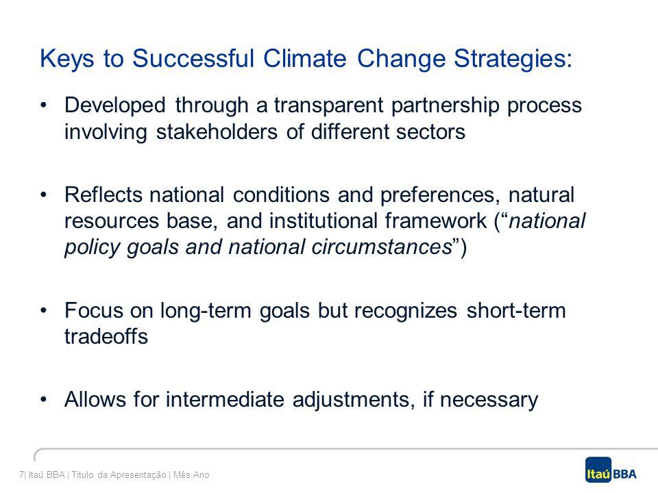 7| Itaú BBA | Título da Apresentação | Mês Ano Keys to Successful Climate Change Strategies: Developed through a transparent partnership process invol