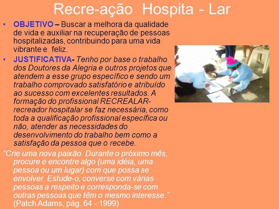 Recre-ação Hospita - Lar OBJETIVO – Buscar a melhora da qualidade de vida e auxiliar na recuperação de pessoas hospitalizadas, contribuindo para uma v
