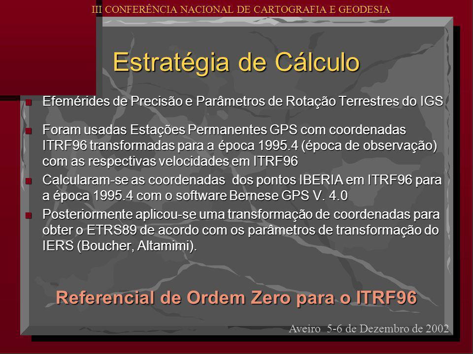 Estratégia de Cálculo n Efemérides de Precisão e Parâmetros de Rotação Terrestres do IGS n Foram usadas Estações Permanentes GPS com coordenadas ITRF96 transformadas para a época 1995.4 (época de observação) com as respectivas velocidades em ITRF96 n Calcularam-se as coordenadas dos pontos IBERIA em ITRF96 para a época 1995.4 com o software Bernese GPS V.