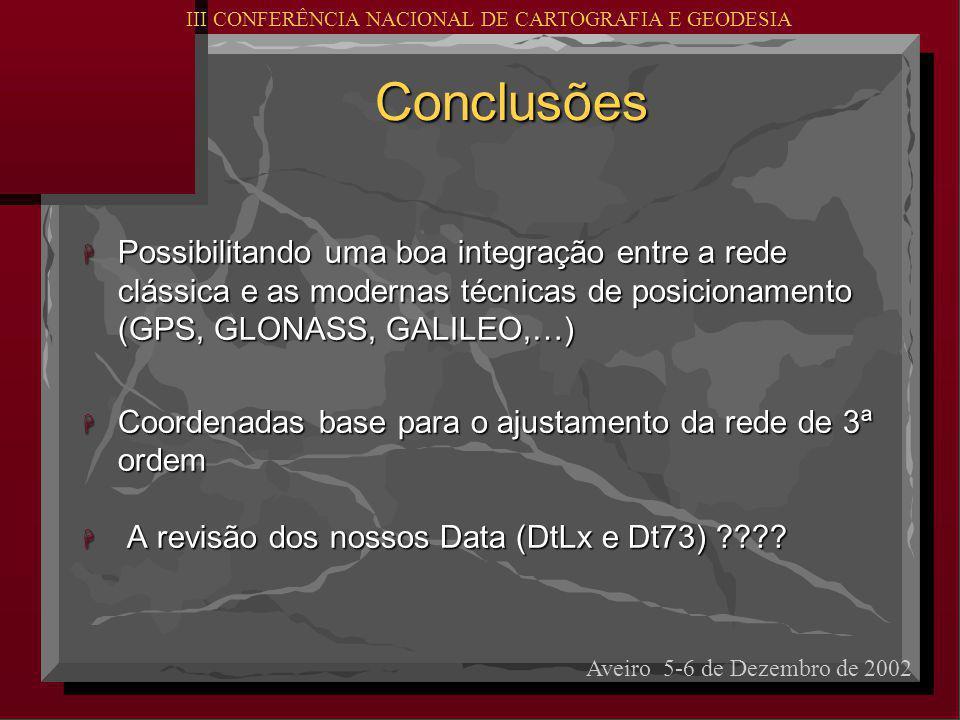 Conclusões H Possibilitando uma boa integração entre a rede clássica e as modernas técnicas de posicionamento (GPS, GLONASS, GALILEO,…) H Coordenadas base para o ajustamento da rede de 3ª ordem H A revisão dos nossos Data (DtLx e Dt73) .