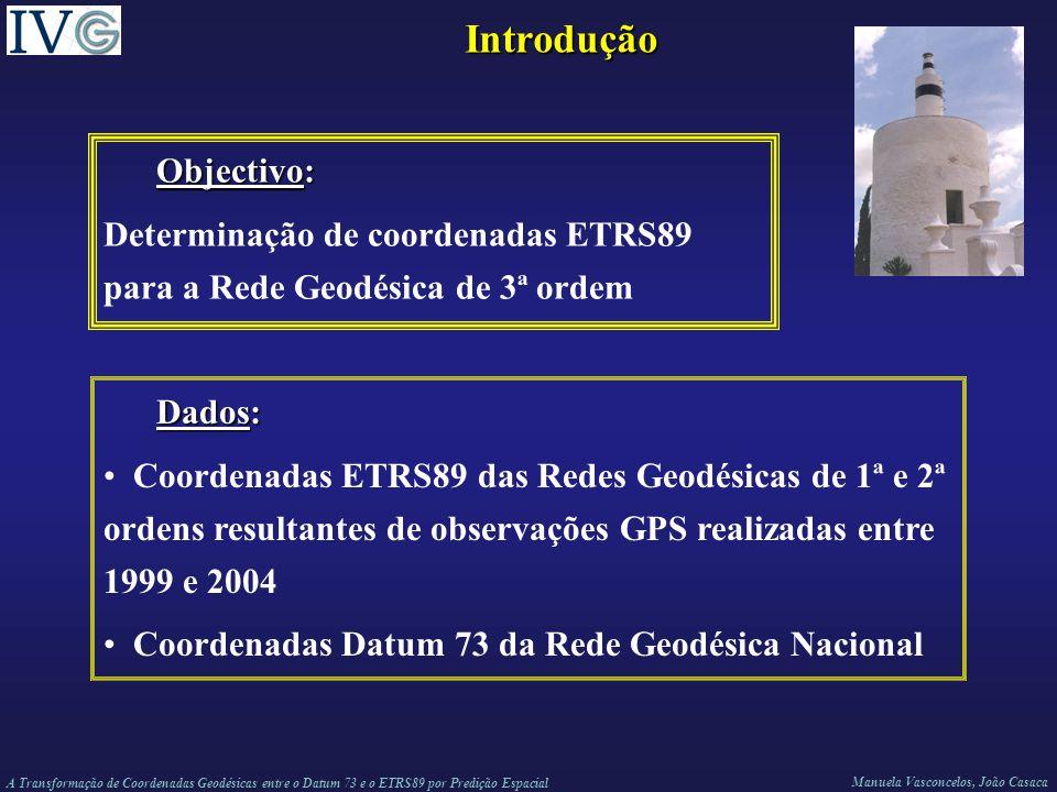 A Transformação de Coordenadas Geodésicas entre o Datum 73 e o ETRS89 por Predição Espacial Manuela Vasconcelos, João Casaca Introdução Objectivo: Determinação de coordenadas ETRS89 para a Rede Geodésica de 3ª ordem Dados: Coordenadas ETRS89 das Redes Geodésicas de 1ª e 2ª ordens resultantes de observações GPS realizadas entre 1999 e 2004 Coordenadas Datum 73 da Rede Geodésica Nacional