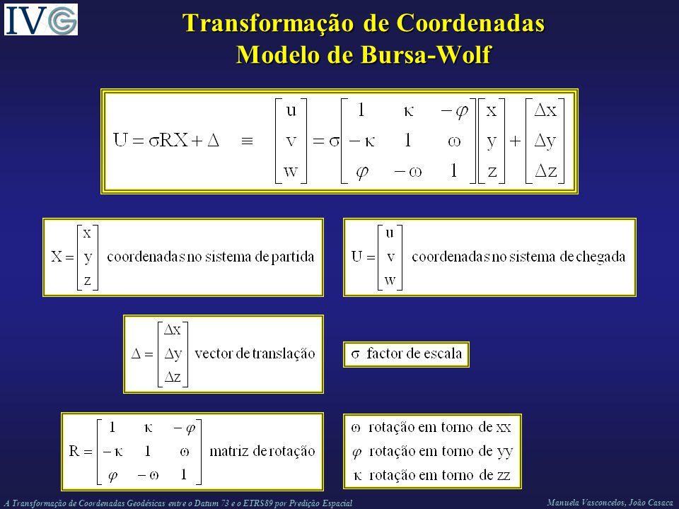 A Transformação de Coordenadas Geodésicas entre o Datum 73 e o ETRS89 por Predição Espacial Manuela Vasconcelos, João Casaca Transformação de Coordenadas Modelo de Bursa-Wolf