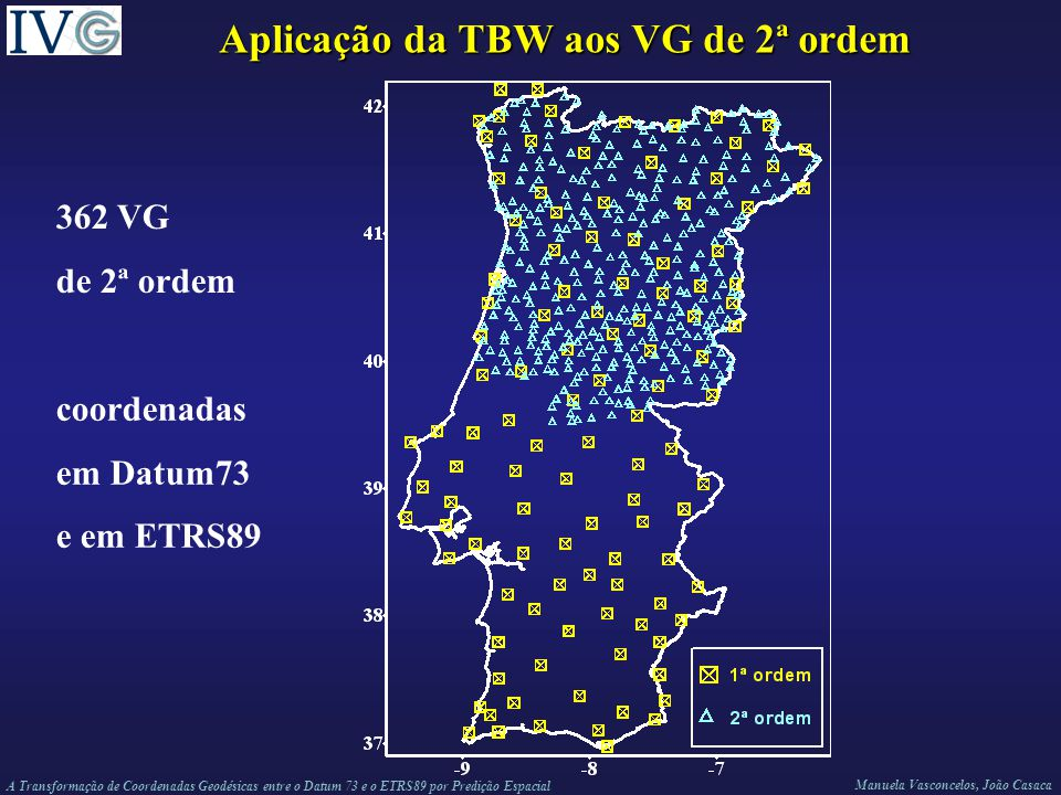 A Transformação de Coordenadas Geodésicas entre o Datum 73 e o ETRS89 por Predição Espacial Manuela Vasconcelos, João Casaca Aplicação da TBW aos VG de 2ª ordem 362 VG de 2ª ordem coordenadas em Datum73 e em ETRS89