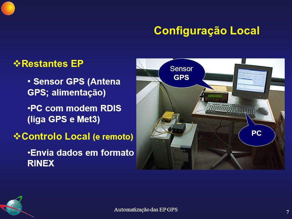 Automatização das EP GPS 8 Servidor com SPIDER Cliente do SPIDER Local Antena GPS Sensor GPS Met3 Modem O controlo das EP é feito remotamente, através de licenças de Spider Server (cada licença controla 10 estações).