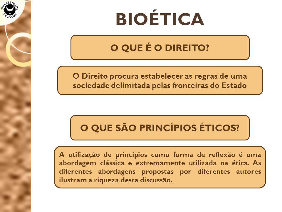 BIOÉTICA O QUE É O DIREITO? O Direito procura estabelecer as regras de uma sociedade delimitada pelas fronteiras do Estado O QUE SÃO PRINCÍPIOS ÉTICOS