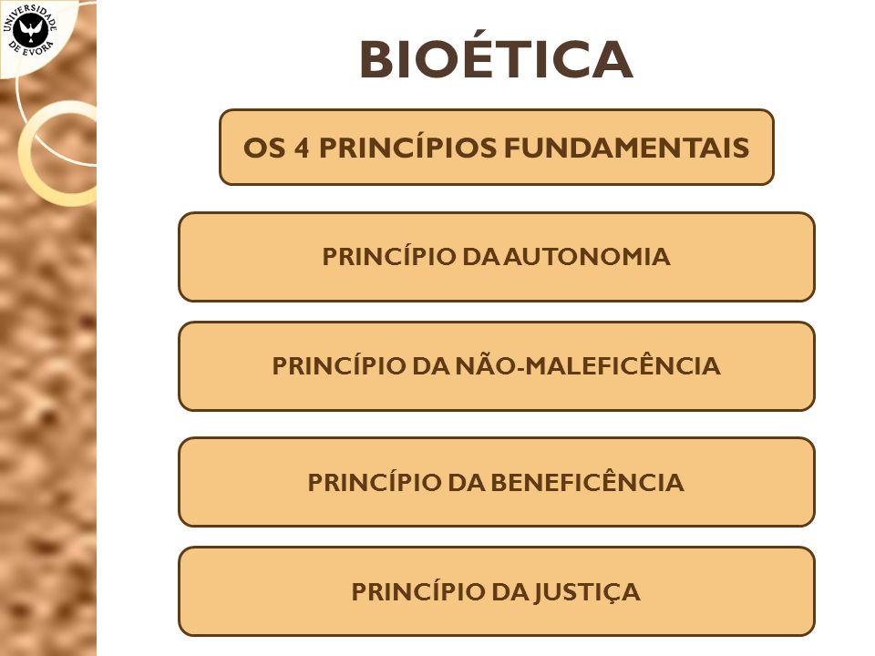 BIOÉTICA OS 4 PRINCÍPIOS FUNDAMENTAIS PRINCÍPIO DA AUTONOMIA PRINCÍPIO DA NÃO-MALEFICÊNCIA PRINCÍPIO DA BENEFICÊNCIA PRINCÍPIO DA JUSTIÇA