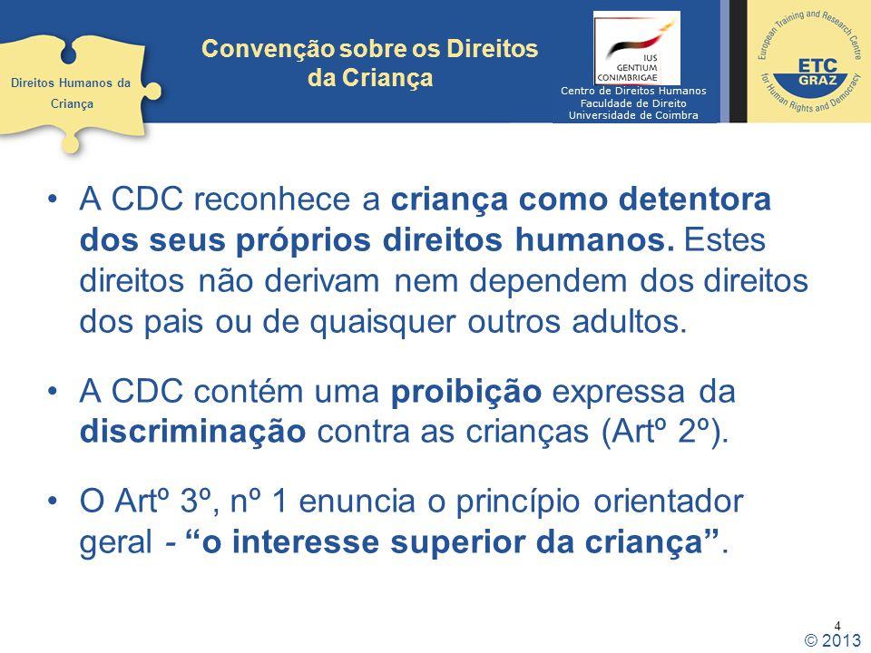 4 Convenção sobre os Direitos da Criança A CDC reconhece a criança como detentora dos seus próprios direitos humanos. Estes direitos não derivam nem d