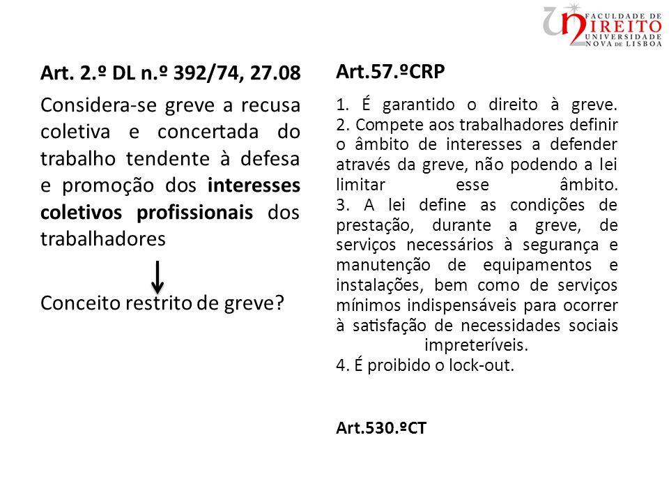 Art. 2.º DL n.º 392/74, 27.08 Considera-se greve a recusa coletiva e concertada do trabalho tendente à defesa e promoção dos interesses coletivos prof